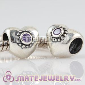 Authentic Sterling Silver Puffy Heart charm beads with purple Stone
