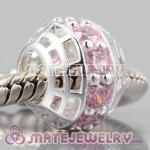 Authentic 925 sterling silver charm Beads with Lovely pink Sapphire Around