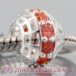 Authentic 925 sterling silver charm Beads with Genuine Orange Sapphire In a circle