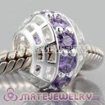 925 sterling silver charm Beads with Noble Amethyst  In a circle
