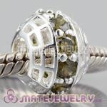 Authentic 925 sterling silver charm Beads with Genuine Olive green CZ Stones In a circle