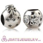 925 Sterling Silver Christmas Ball Beads With Clear Stone