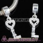 European charms with dangle silver key