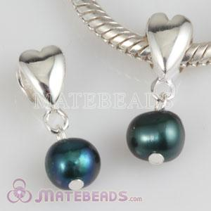 Sterling Silver Heart Bead Dangle 6mm Peacock blue Freshwater Pearl Charms
