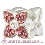 925 Sterling Silver Four Leaf Clover Beads With Pink Austrian Crystal