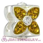 925 Sterling Silver Four Leaf Clover Beads With Yellow Austrian Crystal