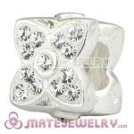 925 Sterling Silver Four Leaf Clover Beads With White Austrian Crystal