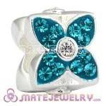 925 Sterling Silver Four Leaf Clover Beads With Blue Austrian Crystal