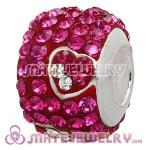 925 Sterling Silver Charm Beads With Heart Fushia Austrian Crystal