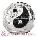 Sterling Silver European Yin Yang Charm Bead With Austrian Crystal Wholesale