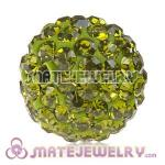 Wholesale Cheap Price 12mm Handmade Pave Olivine Crystal Beads