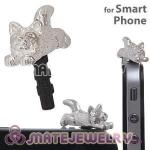 Silver Plated Alloy Cat Earphone Jack Plug fit iphone Wholesale