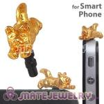 Gold Plated Alloy Cat Earphone Jack Plug fit iphone Wholesale