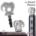 Wholesale Silver Plated Alloy Elephant Earphone Jack Plug fit iphone