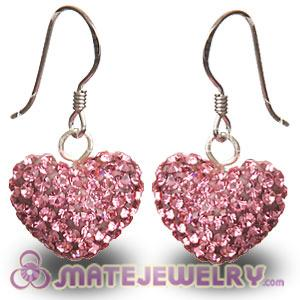 Wholesale Pave Pink Czech Crystal Sterling Silver Heart Earrings
