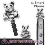 Wholesale Silver Plated Alloy Panda Earphone Jack Plug fit iphone