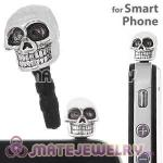 Wholesale Silver Plated Alloy Skull Earphone Jack Plug fit iphone