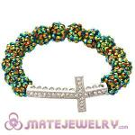 Fashion 10mm Resin Crystal Bead Bracelet With Cross