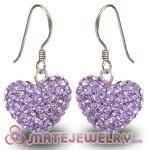 Wholesale Pave Violet Czech Crystal Sterling Silver Heart Earrings