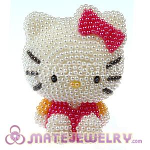 Cute 3D Bling Pearl Hello Kitty Absorbable Doll For iPhone Cases