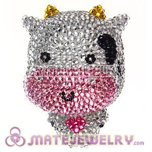 Cute 3D Bling Crystal Cow Absorbable Doll For iPhone Cases