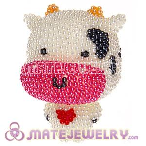 Cute 3D Bling Pearl Cow Absorbable Doll For iPhone Cases
