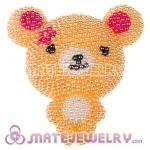 Cute 3D Bling Pearl Teddy Bear Absorbable Doll For iPhone Cases