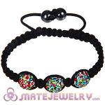Wholesale Bargain Price Handmade Pave Colorful Crystal Macrame Bracelets