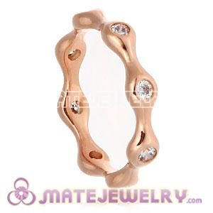 Rose Gold Plated Halo Ring Upon Ring With Austrian Crystal Diamond