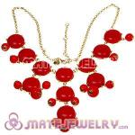 2012 New Fashion Coral Red j Bubble Bib crew Statement Necklace