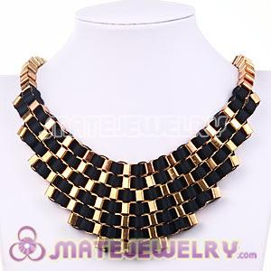 Multi Layer Stripe Ribbon Winding Buckle Chunky Bib Necklace