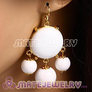 Fashion Gold Plated Drop White Bubble Earrings Wholesale