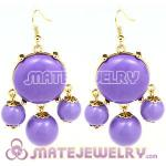 Fashion Gold Plated Lavender Drop Bubble Earrings Wholesale