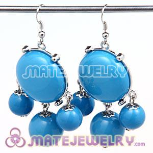 Fashion Silver Plated Drop Blue Bubble Earrings Wholesale