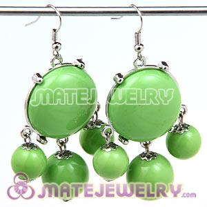 Fashion Silver Plated Drop Olivine Bubble Earrings Wholesale