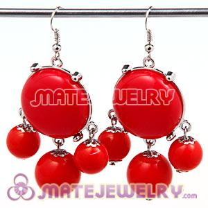 Fashion Silver Plated Drop Coral Red Bubble Earrings Wholesale