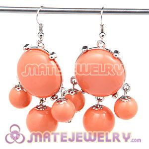 Fashion Silver Plated Drop Orange Bubble Earrings Wholesale