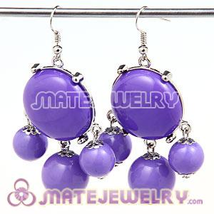 Fashion Silver Plated Drop Lavender Bubble Earrings Wholesale
