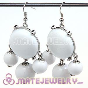 Fashion Silver Plated Drop White Bubble Earrings Wholesale