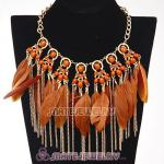 Bohemian Style Golden Chunky Chain Feather Tassel Choker Bib Necklace