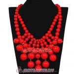 2012 New Fashion Red Coral Cascade Bauble Bib Necklace Wholesale