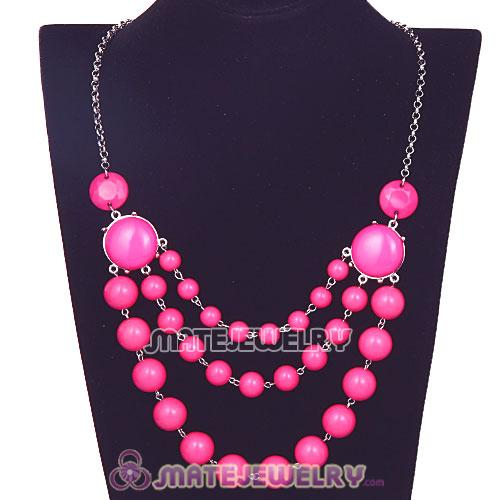 Silver Chains Three Layers Roseo Resin Bubble Bib Statement Necklace