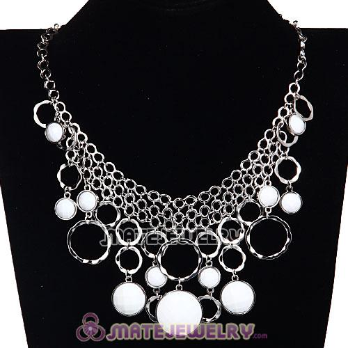 Silver Chains Multilayer White Resin Choker Bib Necklaces Wholesale