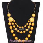 Gold Chain Three Layers Yolk Yellow Resin Bubble Bib Statement Necklace