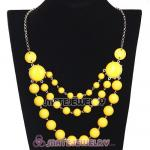 Fashion Silver Chains Three Layers Yellow Resin Bubble Bib Statement Necklace