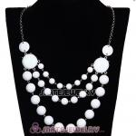Fashion Silver Chains Three Layers White Resin Bubble Bib Necklace