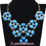 Gold Chain Retro Style Ellipse Turquoise Resin Gemstone Choker Bib Collar Necklace