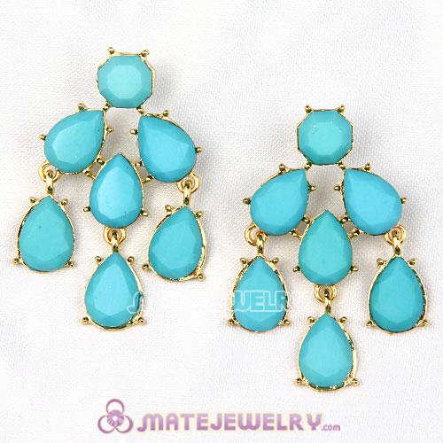 Fashion Gold Plated Turquoise Resin Chandelier Earrings Wholesale
