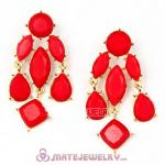 Fashion Gold Plated Red Coral Resin Chandelier Earrings Wholesale