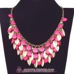 Gold Leaves Chunky Multi Layers Bubble Bib Statement Necklace
